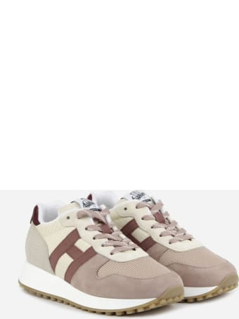 Hogan H383 Sneakers In Suede With Technical Fabric Inserts