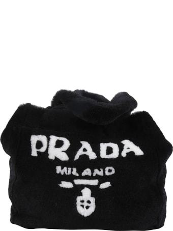 Prada Fur Detail Logo Shopper Bag