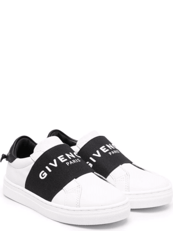 Givenchy Kids White And Black Urban Street Sneakers With Band