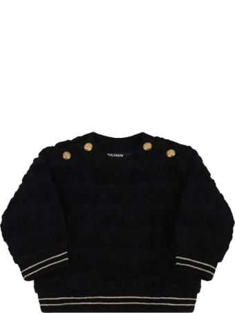Balmain Black Sweatshirt For Babykids With Logo