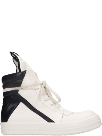 Rick Owens Geobasket  Sneakers In White Leather