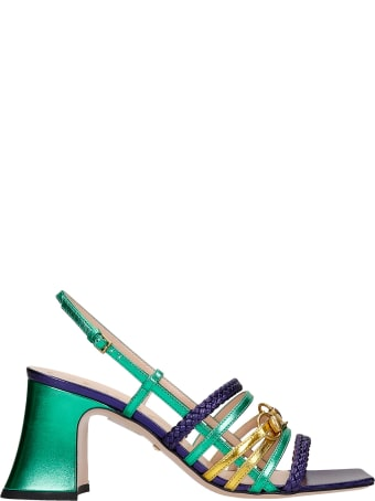 Gucci Sandals In Green Leather