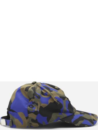 Les Hommes Nylon Twill Baseball Cap With Camouflage Print And Logo Detail
