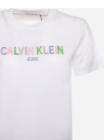Calvin Klein Cotton T-shirt With Multicolored Logo Calvin Klein