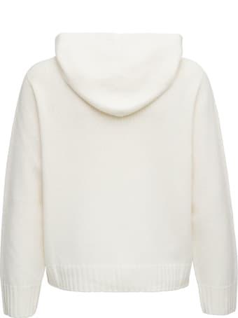 Fabiana Filippi White Wool Hoodie With Bow