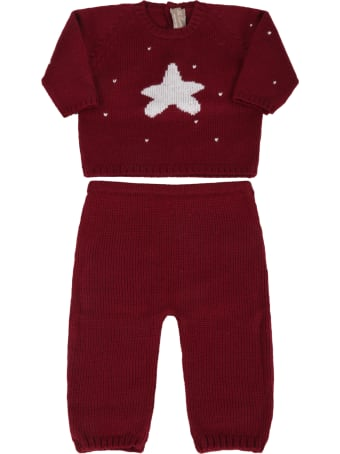 La stupenderia Bordeaux Suit For Baby Kids With Star