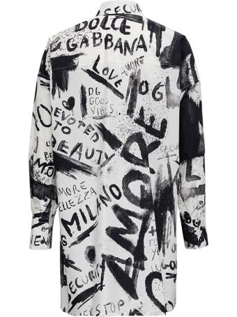 Dolce & Gabbana Graffiti Cotton Poplin Shirt