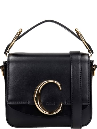 Chloé Mini Chloe C Hand Bag In Black Suede And Leather