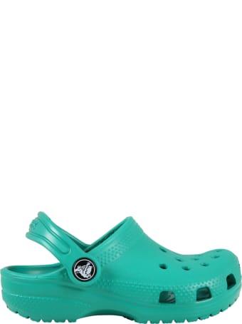 Crocs Green Sabot For Kids With Logo