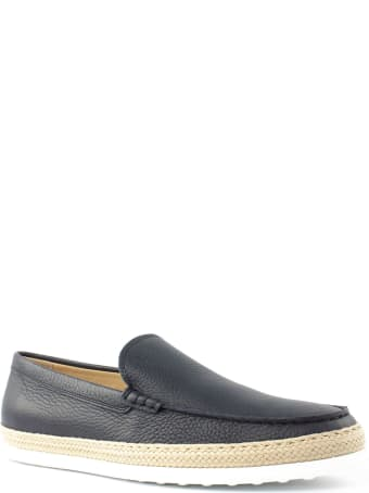 Tod's Slip-on Shoes In Blue Leather