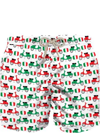 MC2 Saint Barth Vespa© Flag Print Boy's Swim Trunks - Vespa® Special Edition