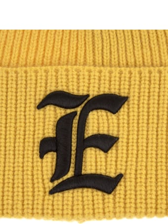 Ermanno Scervino Yellow Beanie In Ribbed Knit With Monogram Logo