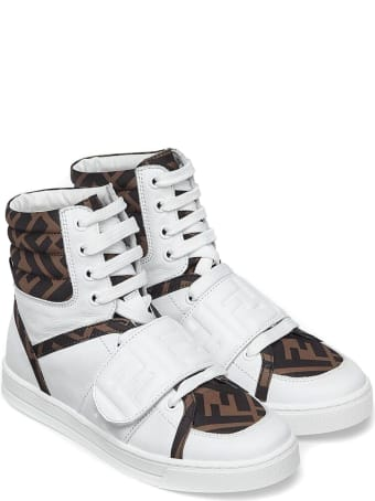 Fendi White Leather High-top Sneakers