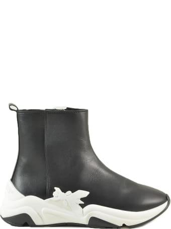 Patrizia Pepe Black Leather Booties W/rubber Sole