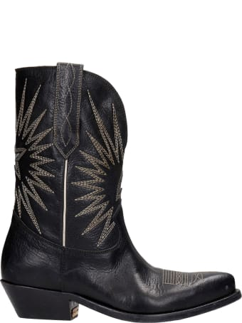Golden Goose Wish Star Texan Ankle Boots In Black Leather