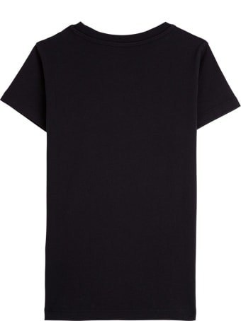 Moncler Black Jersey T-shirt With Fluo Logo