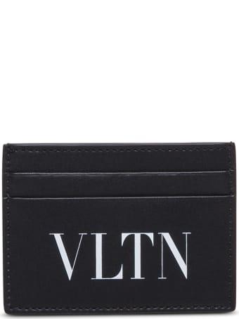 Valentino Garavani Black Leather Card Holder With Logo