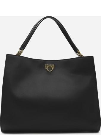 Salvatore Ferragamo Trefoil Leather Tote Bag
