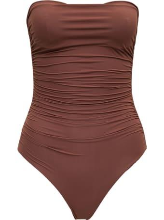 Le Petit Réve Strapless Brown One-piece Swimsuit