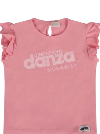 Dimensione Danza Pink T-shirt With Logo For Baby Girl