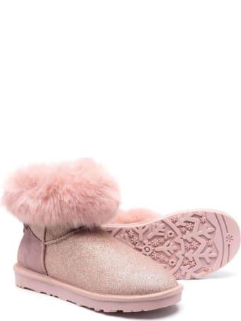 Monnalisa Pink Glittered Leather Boots