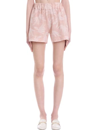 120% Lino Shorts In Rose-pink Linen