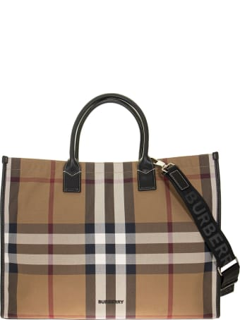 Burberry Denny Ocg - Tote In Cotton Canvas With Tartan Pattern
