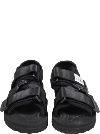 """SUICOKE Black """"kisee """" Sandals For Kids With Logo"""