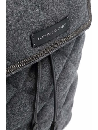 Brunello Cucinelli Grey Quilted Wool And Leather Backpack
