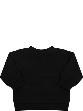 Balmain Black Sweatshirt For Baby Girl With Logo