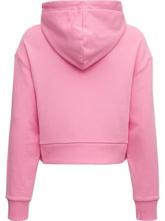 Balmain Pink Cropped Hooduie With Logo