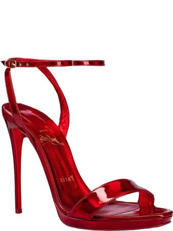 Christian Louboutin Metallic Red Patent Loubi Queen 120 Sandals