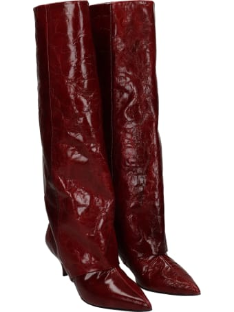Alchimia Low Heels Boots In Bordeaux Leather