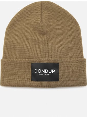 Dondup Beanie Hat In Wool Blend With Logo Patch