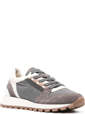 Brunello Cucinelli Leather And Fabric Panel Sneakers With Monile Detail