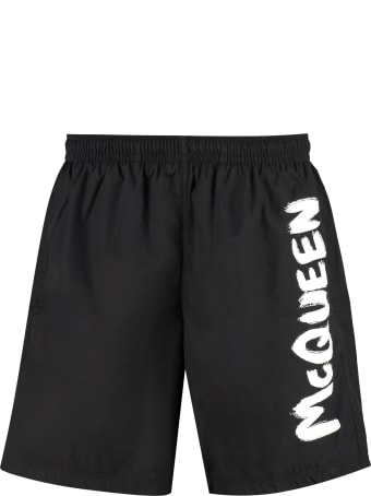 Alexander McQueen Logo Print Swim Shorts
