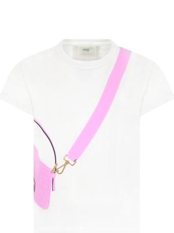 Fendi White T-shirt For Girl With Purple Bag