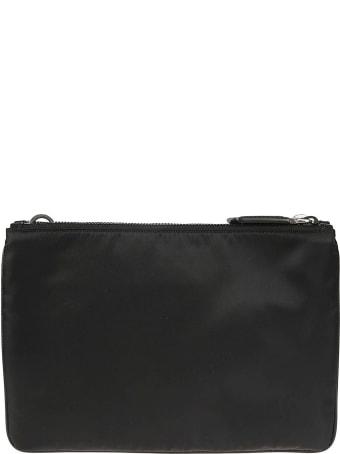 Prada Double Top Zip Logo Plaque Shoulder Bag