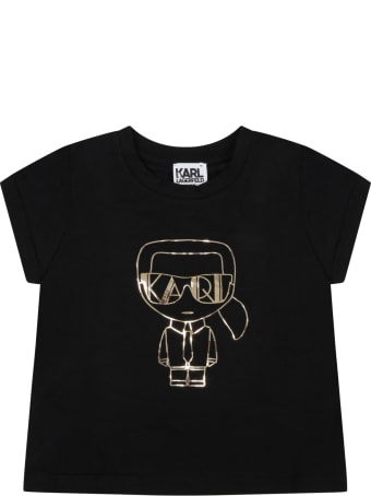 Karl Lagerfeld Kids Black T-shirt For Girl With Karl Lagerfeld And Logo