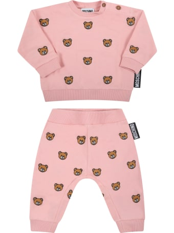 Moschino Pink Tracksuit For Baby Girl