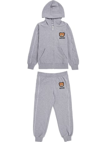 Moschino Grey Cotton Hoodie And Jogger Suit
