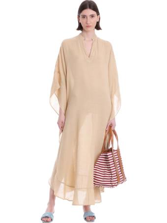 120% Lino Dress In Beige Linen