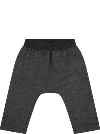 """Caffe' d'Orzo Gray """"demi-baby"""" Trousers For Baby Girl With Lurex Details"""