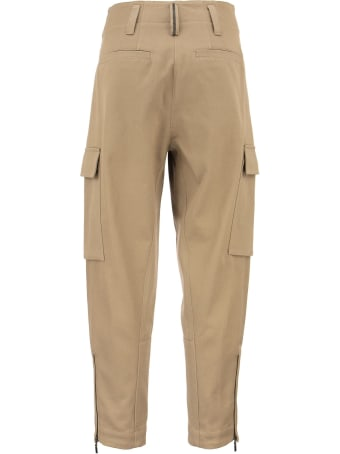Brunello Cucinelli Dyed Couture Denim Ergonomic Barrel Leg Trousers With Cargo Pockets, Monili And Ankle Zippers