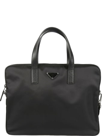 Prada Zip-around Logo Plaque Briefcase