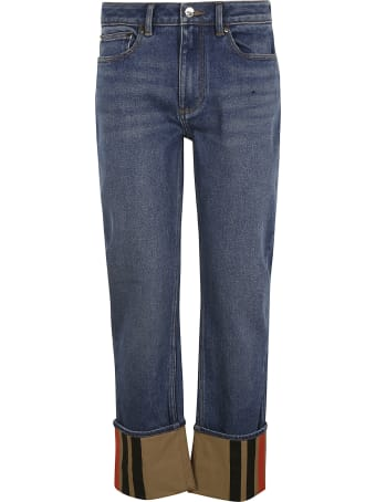 Burberry Folded Cuff Buttoned Jeans