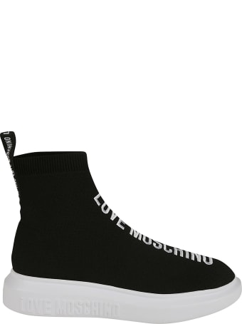 Love Moschino Logo Embroidered Sock Sneakers