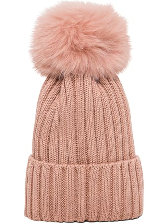Moncler Pink Wool Hat With Pom Pon Detail And Logo Patch