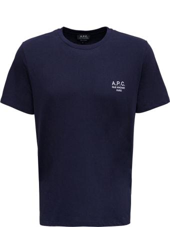A.P.C. Blue Cotton T-shirt With Logo Print