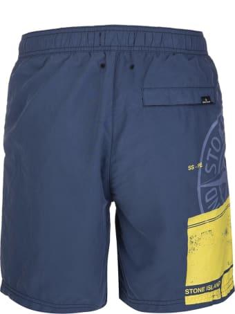 Stone Island Navy Blue Block Swim Shorts Man